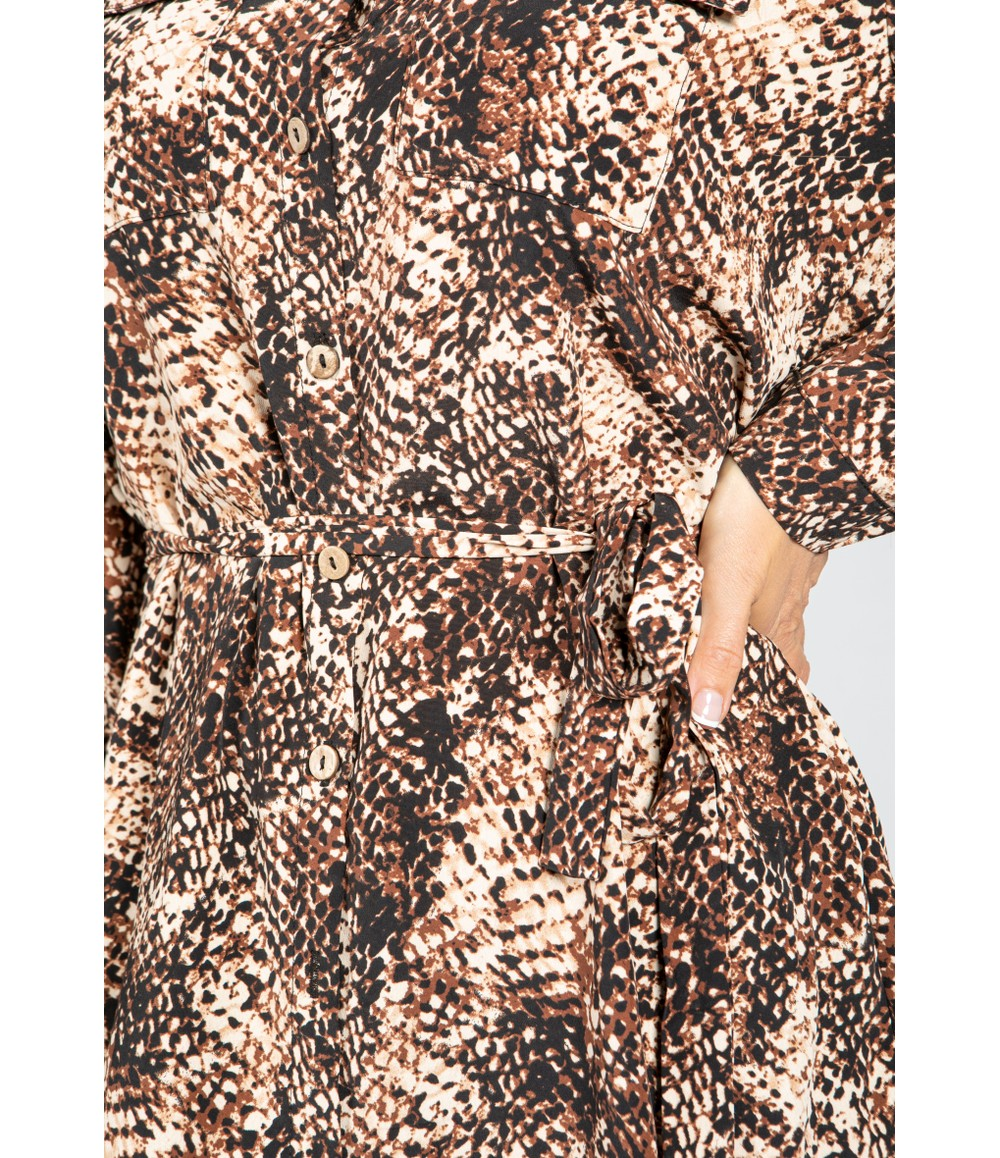 Pamela Scott Snake Skin Printed Shirt Dress