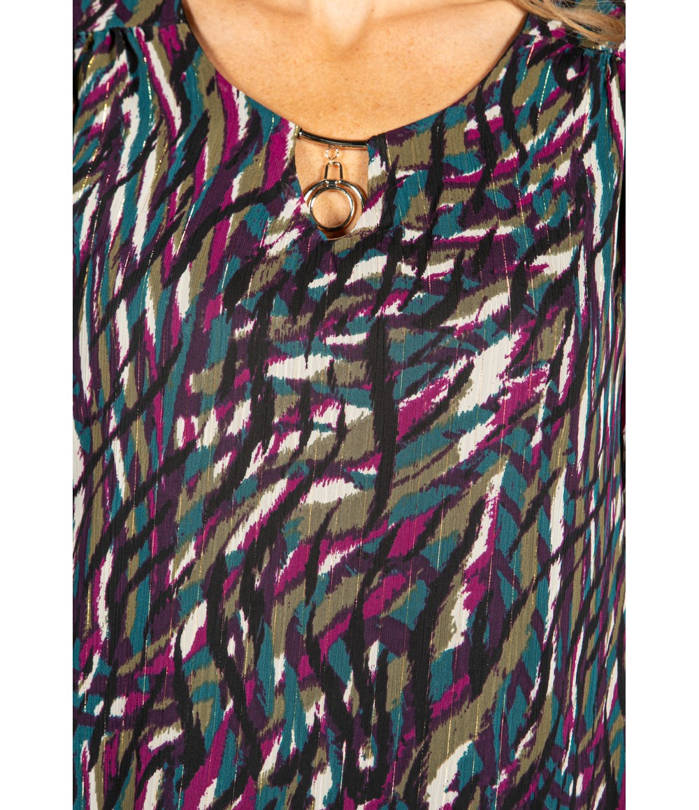 Zapara Necklace detail Printed Blouse
