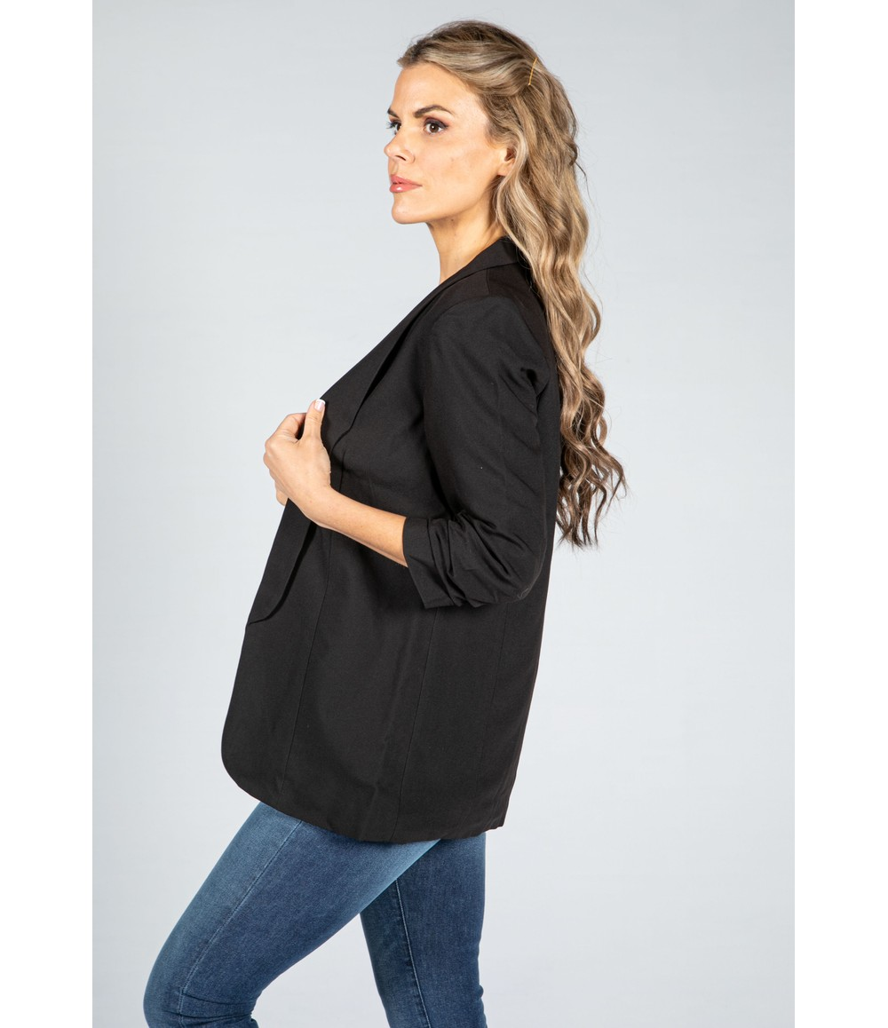 Pieces Rushed 3/4 Length Sleeve Blazer in Black