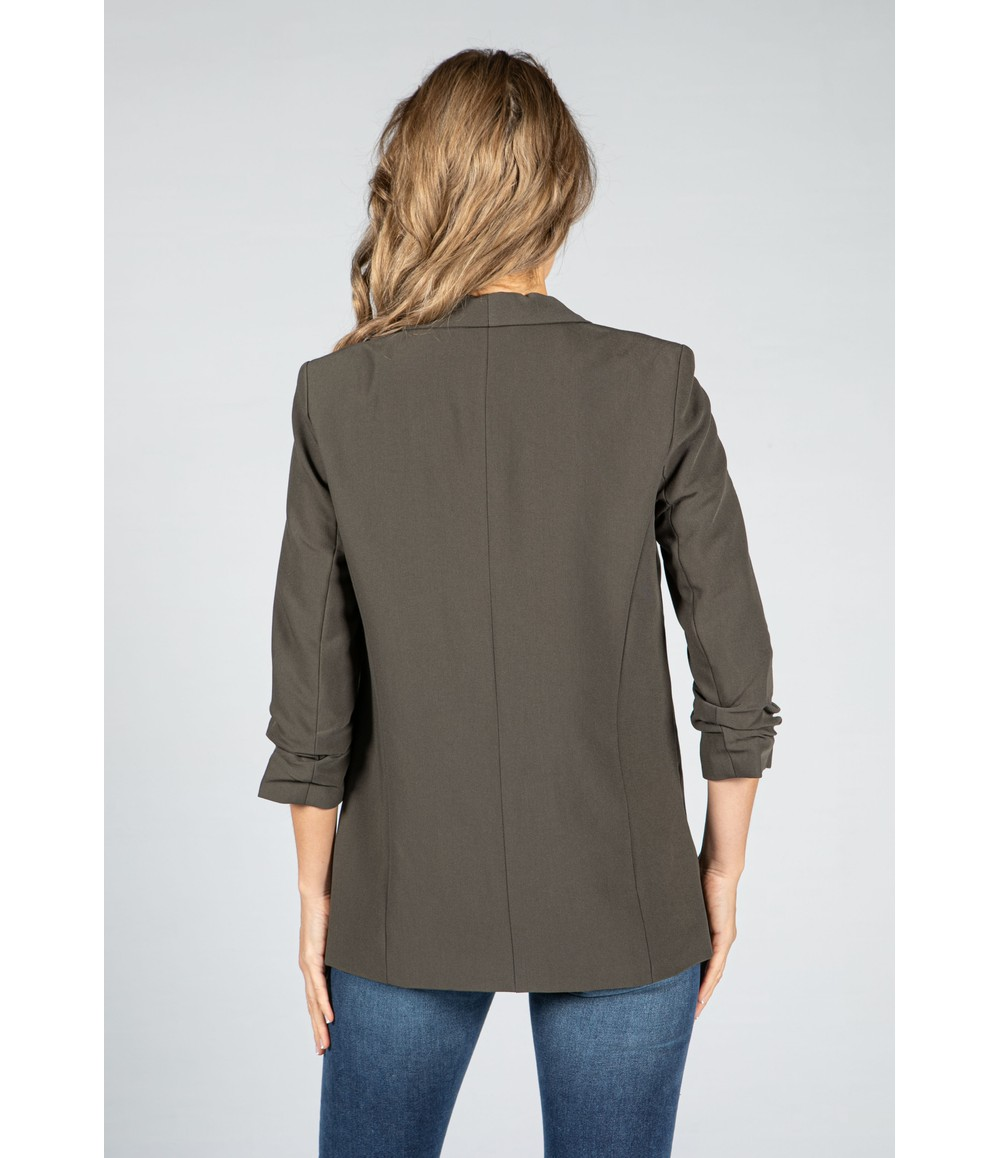 Pieces Rushed 3/4 Length Sleeve Blazer in Khaki