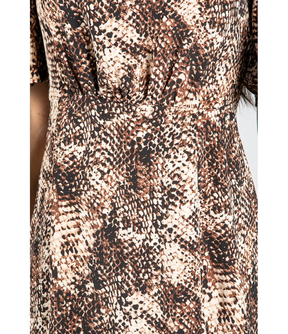 Pamela Scott Snake Skin Print Midi Dress