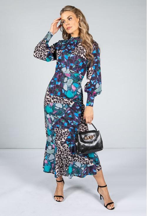 Pamela Scott Patchwork Printed Dress