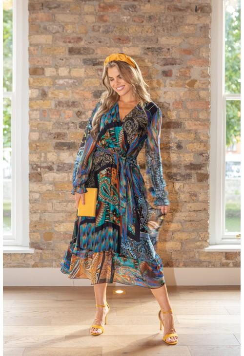 Zapara 70's Inspired Printed Silk Mix Dress