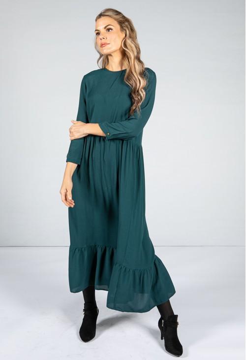 Pamela Scott Forest Green Smock Style Dress
