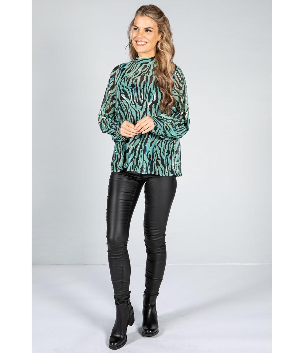 Pamela Scott Golden Tiger Stripe Blouse in Sage