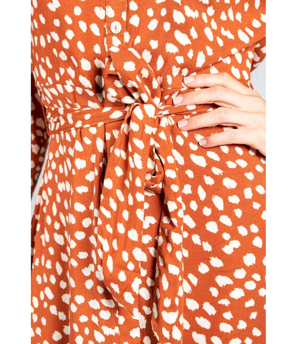 Pamela Scott Rust Animal Print Dress