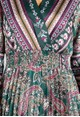 Zapara Silk Feeling Paisley Printed Midi Dress in Bottle Green