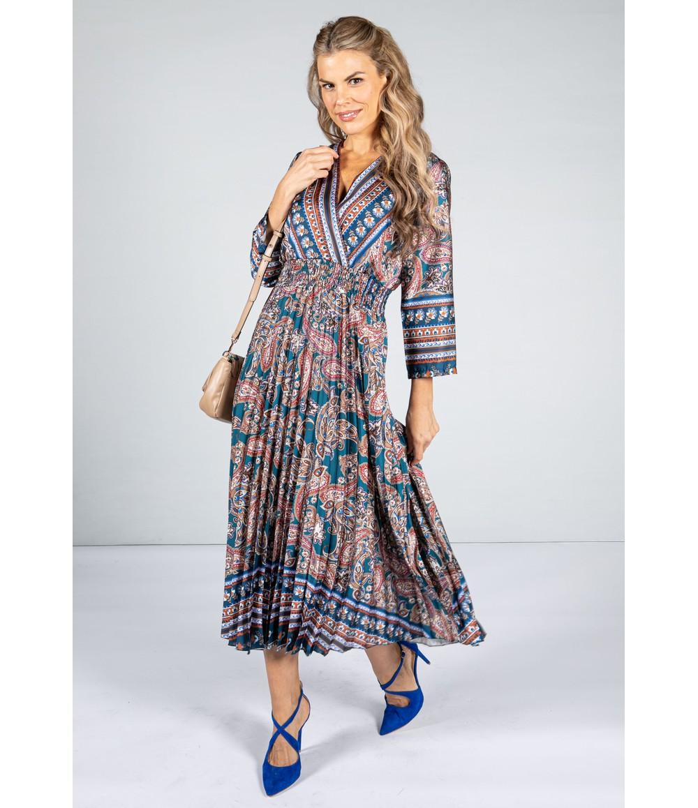 Zapara Silk Feeling Paisley Printed Midi Dress in Teal