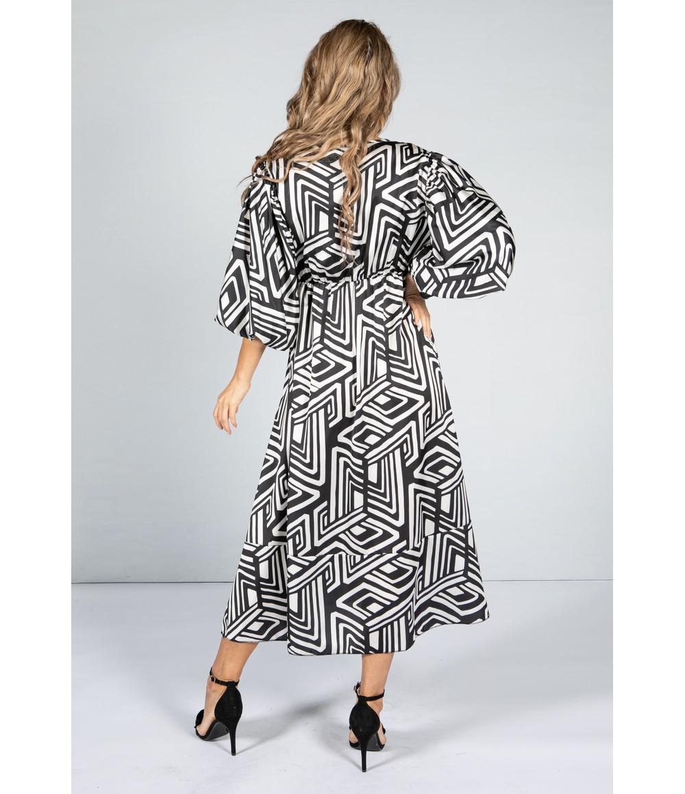 Zapara Zebra Printed Midi Dress