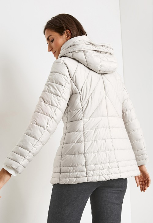 Gerry Weber QUILTED JACKET WITH A FAUX FUR HOOD