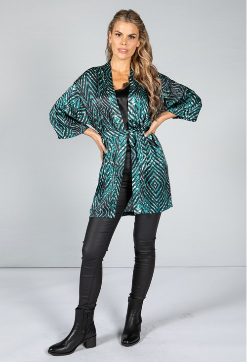 Animal Print Silk Blend Kimono Style Cardigan in Jade Green