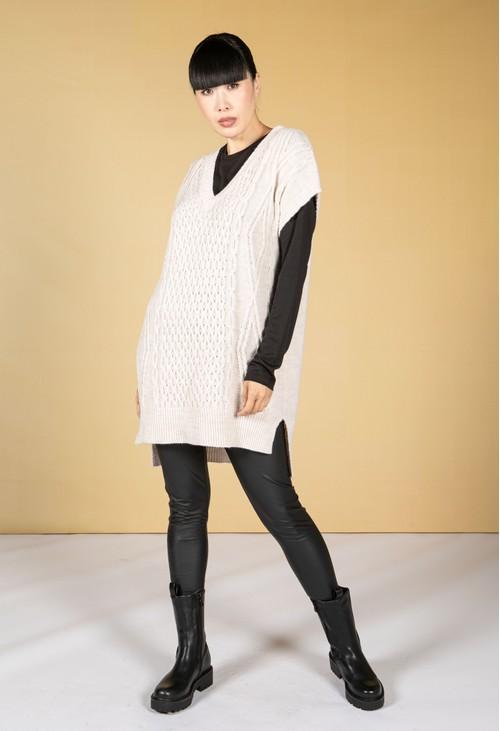 Pamela Scott Oversized Cable Knit Sweater Vest in Beige