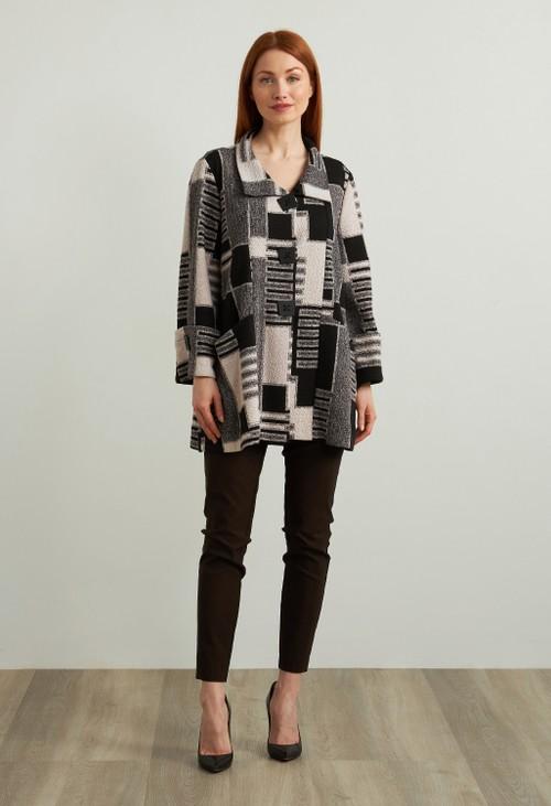 Joseph Ribkoff Geometric Jacquard Jacket Style