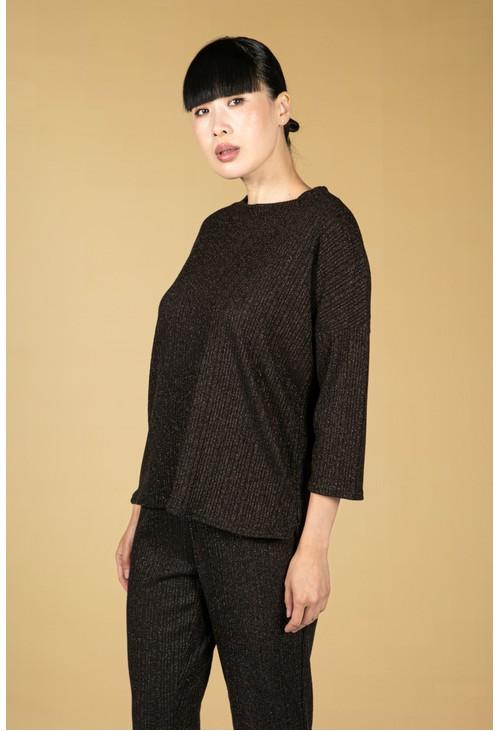Zapara Lurex Blend Fine Knit Top in Black