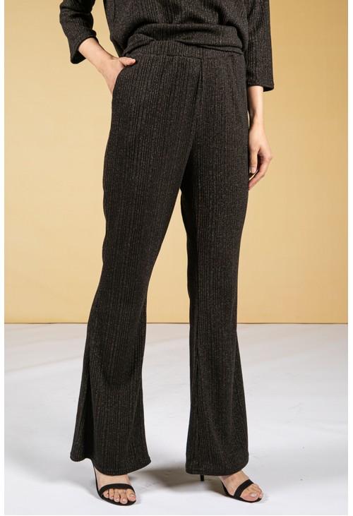 Zapara Lurex Blend Fine Knit Wide Leg Trousers in Black