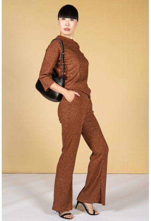 Zapara Lurex Blend Fine Knit Wide Leg Trousers in Bronze