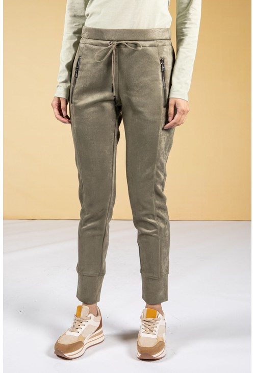 Opus Levina Soft Suedette Joggers in Soft Moss