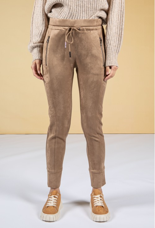 Opus Levina Soft Suedette Joggers in Maple