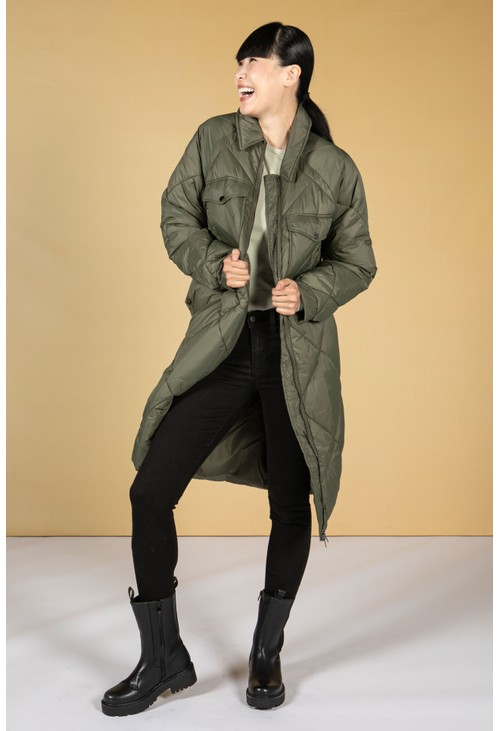Pamela Scott Hoodless Quilted Long-Line Coat in Khaki Green