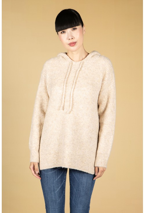Opus Pericia Knitted Hooded Jumper in Maple Beige
