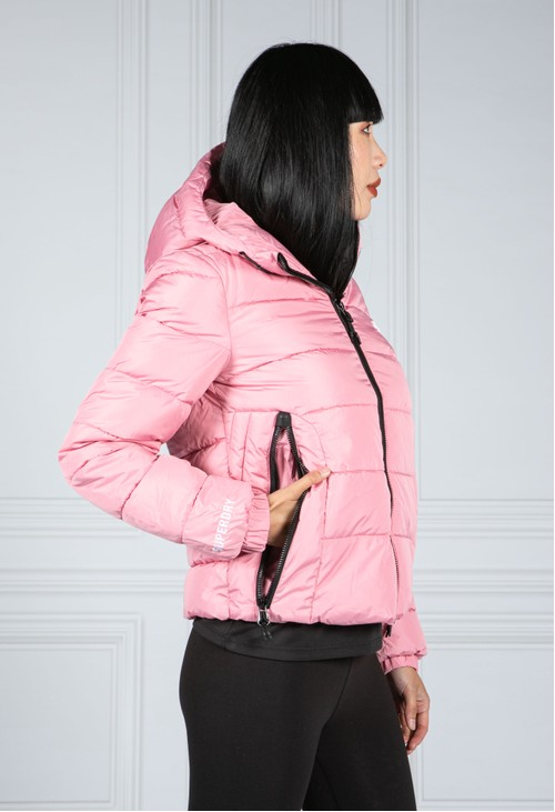 Superdry Hooded Spirit Sports Puffer Jacket in Montauk Blush