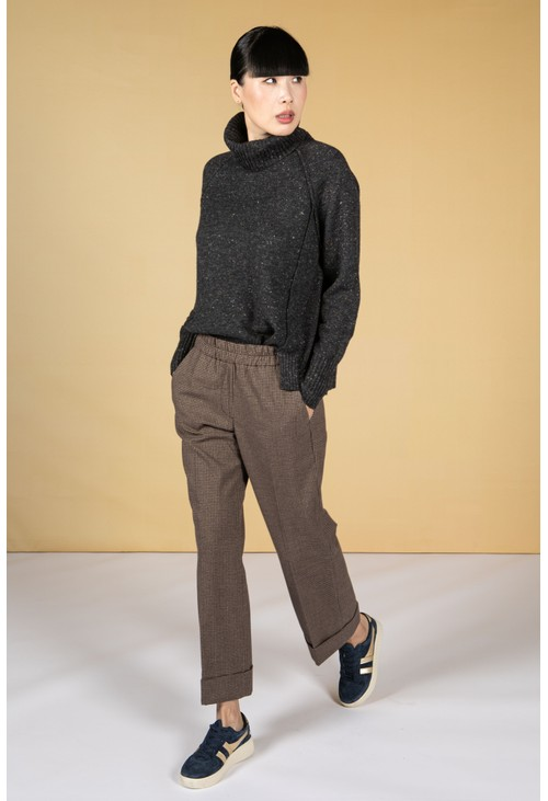 Opus Maikito Check Straight Leg Trousers in Truffle