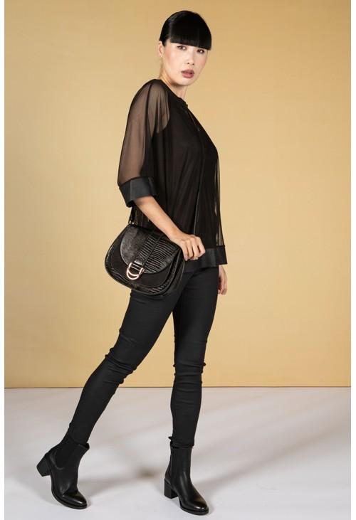 Zapara Mesh Batwing Top & Vest Set in Black