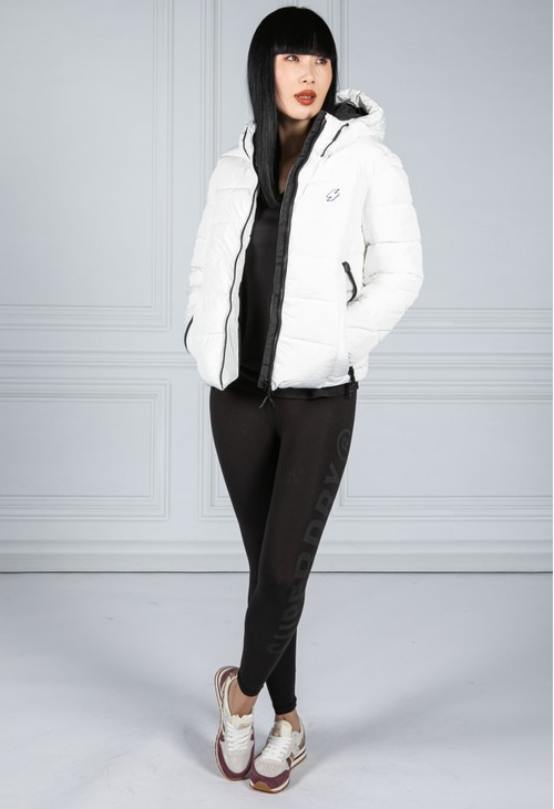 Superdry Hooded Spirit Sports Puffer Jacket in White