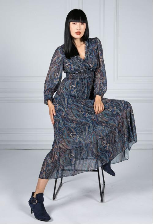 Emporium Ruffled Paisley Print Dress in Navy Blue