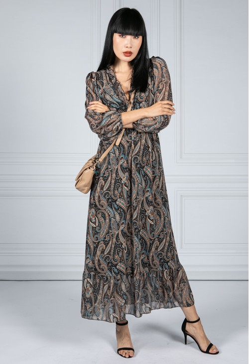 Emporium Ruffled Paisley Print Dress in Black