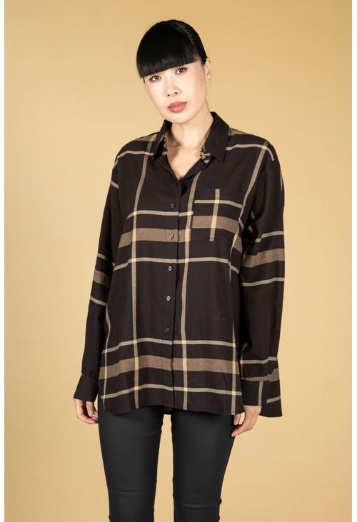 Opus Fineli Check shirt in Truffle