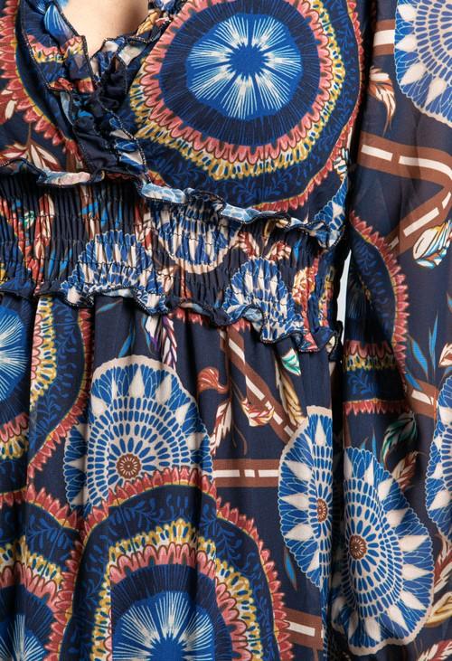 Emporium Ruffled Geo Print Dress in Navy