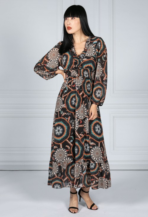 Emporium Ruffled Geo Print Dress in Black