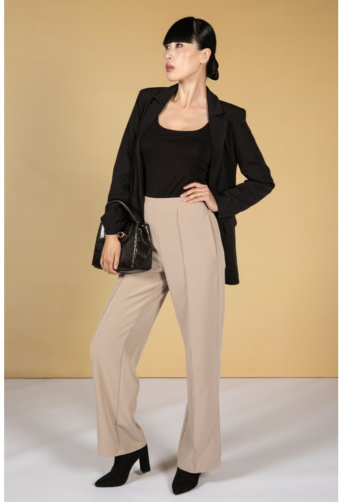 Pieces Straight Cut Trousers in Cashew