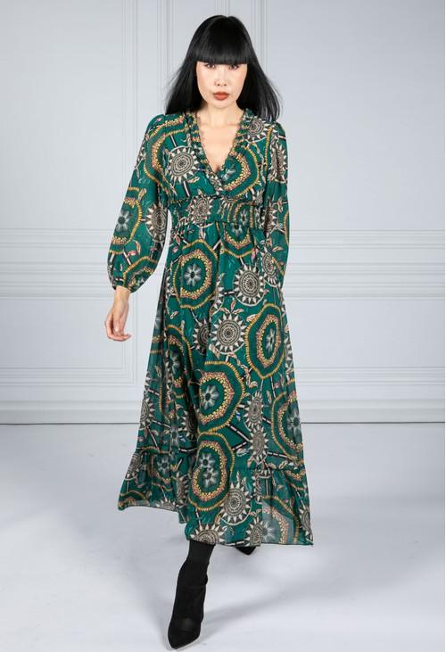 Emporium Ruffled Geo Print Dress in Green