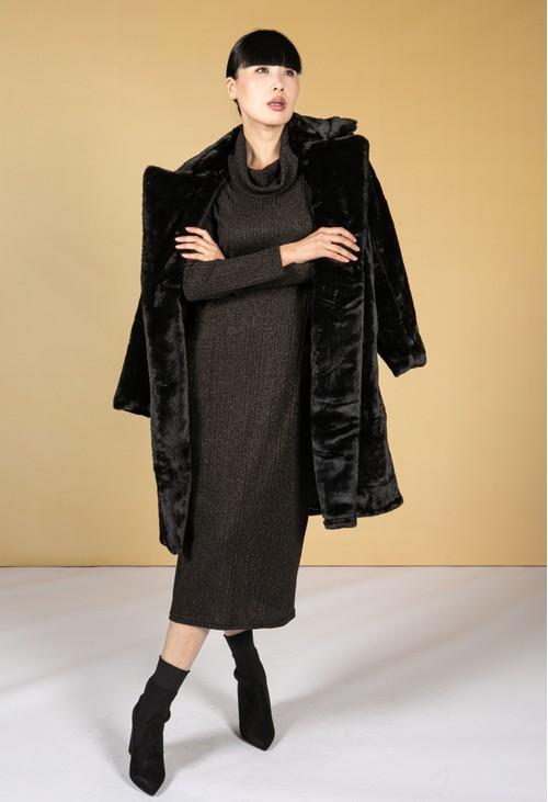 Pamela Scott Black Faux Fur Coat