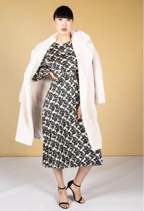 Pamela Scott Cream Faux Fur Coat