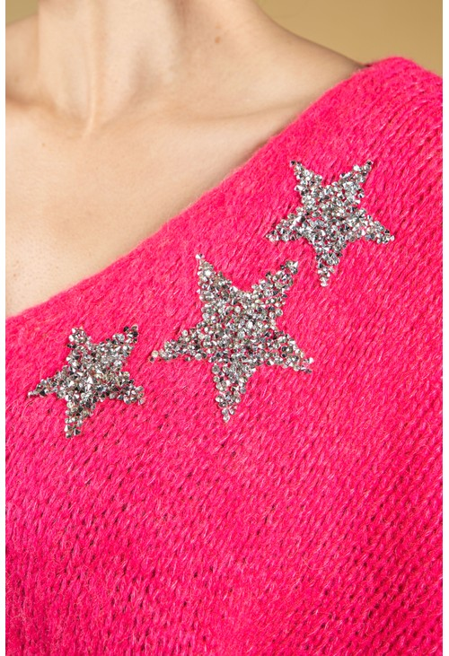 Zapara Bright Pink Star Jewelled Knit
