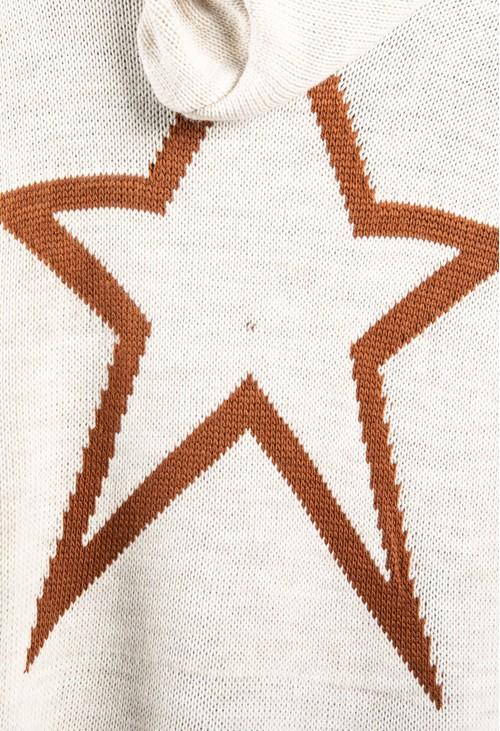 Zapara Long Line Knitted Star Cardigan in Oat