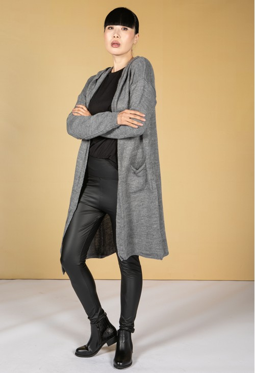 Zapara Long Line Knitted Star Cardigan in Mid Grey