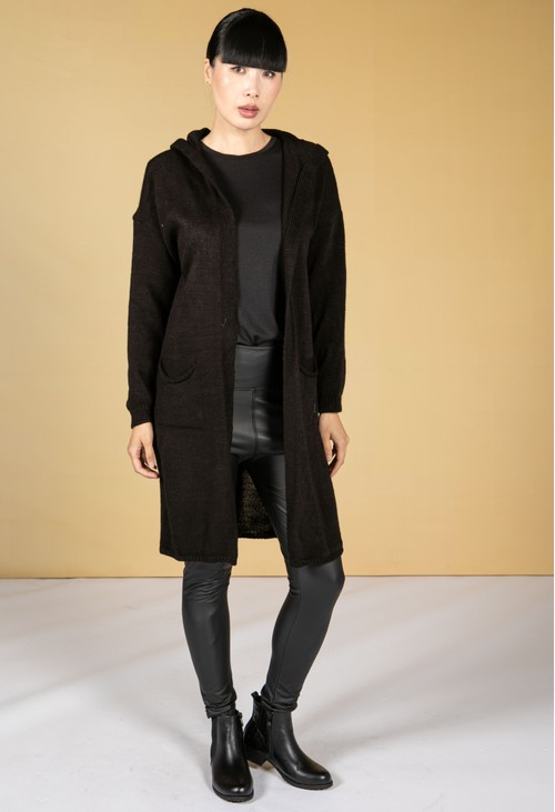 Zapara Long Line Knitted Star Cardigan in Black
