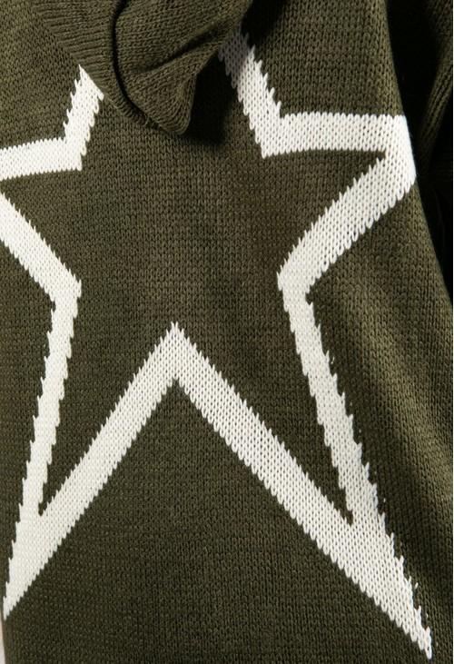 Zapara Long Line Knitted Star Cardigan in Khaki