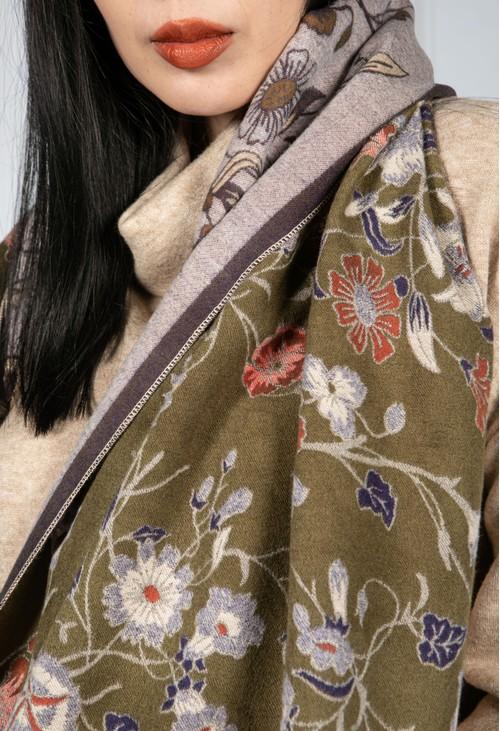 Pamela Scott Double Knit Floral Scarf