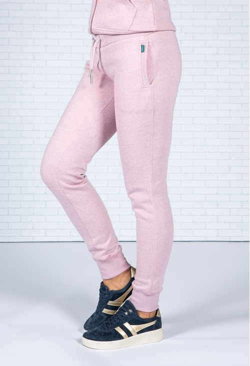 Superdry Vintage Logo Embroidered Joggers in Soft Pink Marl