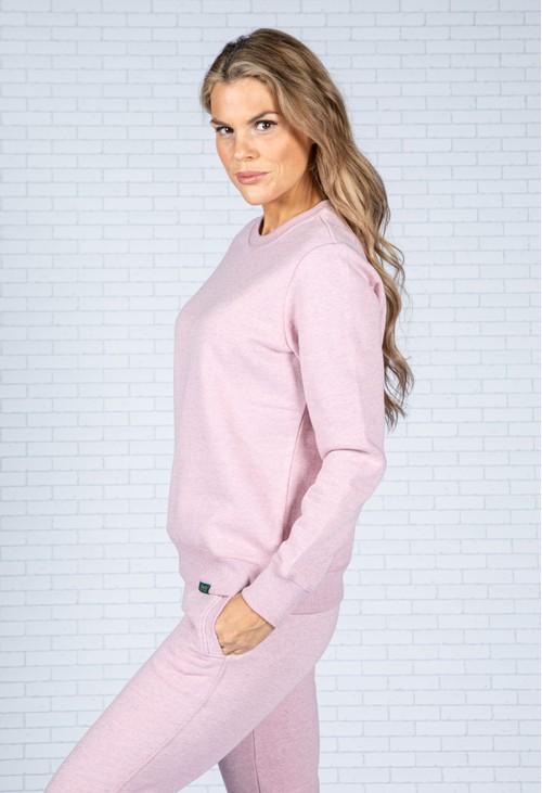 Superdry Organic Cotton Vintage Logo Crew Sweatshirt in Soft Pink Marl