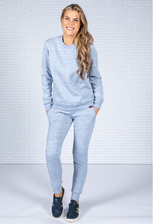 Superdry Organic Cotton Vintage Logo Crew Sweatshirt in Blue Denim Marl