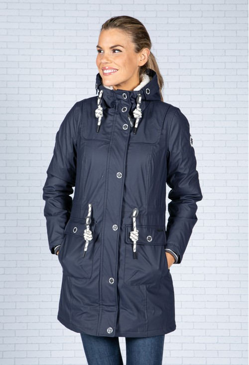Pamela Scott Navy Faux Fur Lined Raincoat