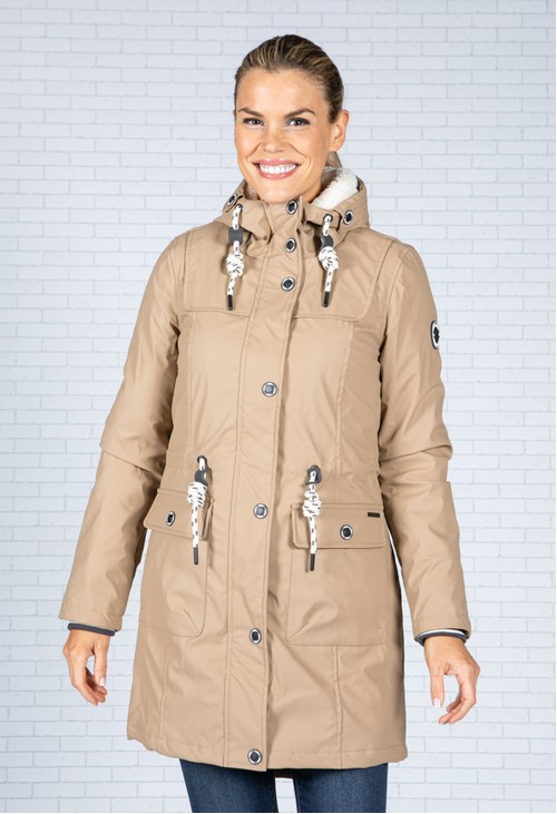 Pamela Scott Toasted Beige Faux Fur Lined Raincoat