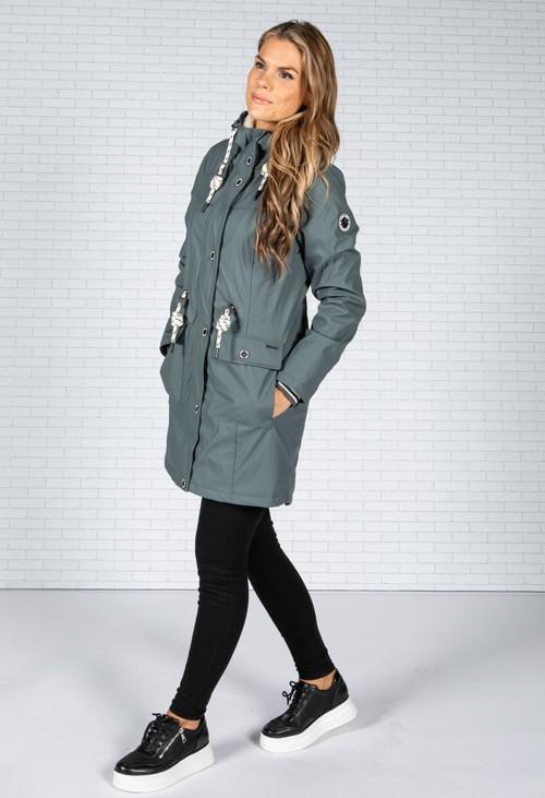 Pamela Scott Dark Teal Faux Fur Lined Raincoat