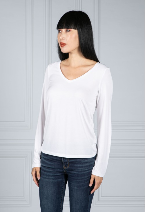 Pieces Long Sleeve V-Neck Tee in White